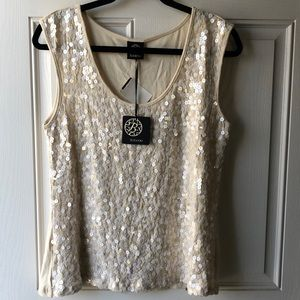 NEW - Bobeau Cream Sparkle Sequin Blouse